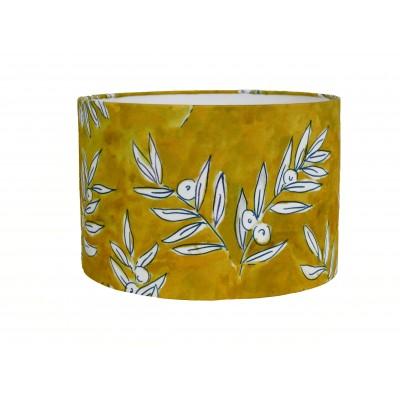 Abat-jour cylindrique intérieur blanc tissu coton Olivette jaune