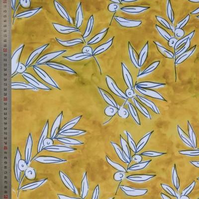 tissu tapissier coton Olivette jaune