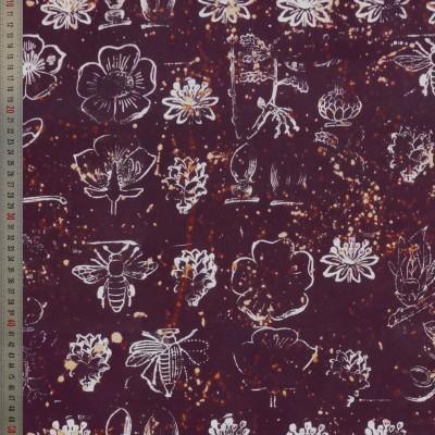 tissu tapissier coton Botanica prune