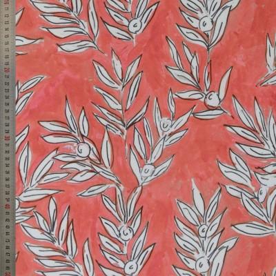 tissu tapissier coton Olivette corail
