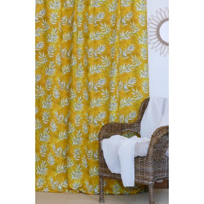 rideau tissu tapissier coton Olivette jaune