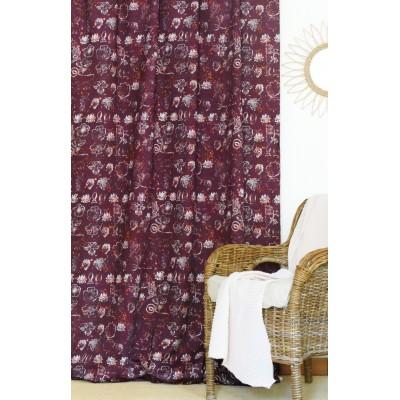 rideau tissu tapissier coton Botanica prune