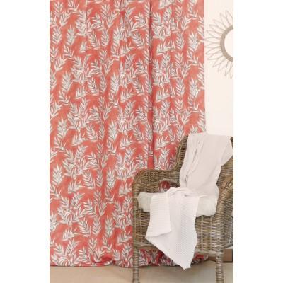 rideau tissu tapissier coton Olivette corail